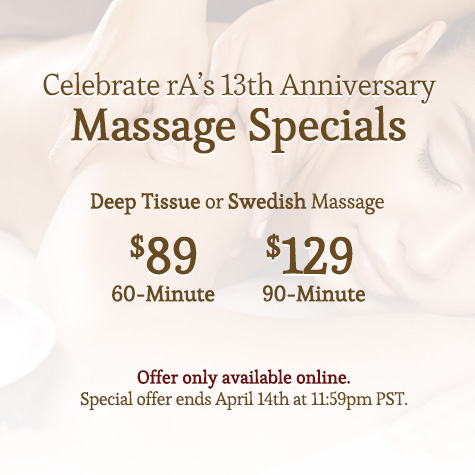 rA's 13th Anniversary Massage Special
