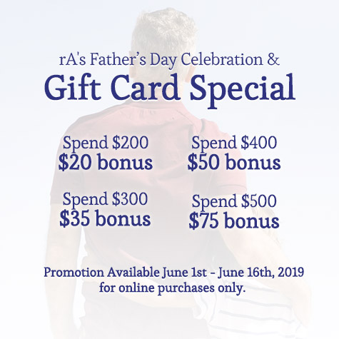 rA's 2019 Father's Day Celebration & Gift Card Special