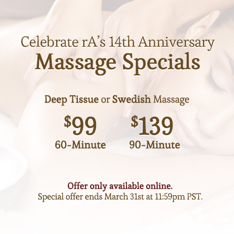 rA Organic Spa - 14th Anniversary Massage Specials